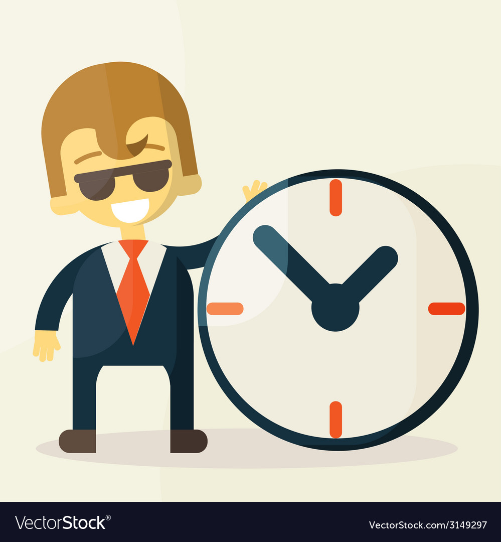 Businessman with time business concept in busy and vector | Price: 1 Credit (USD $1)