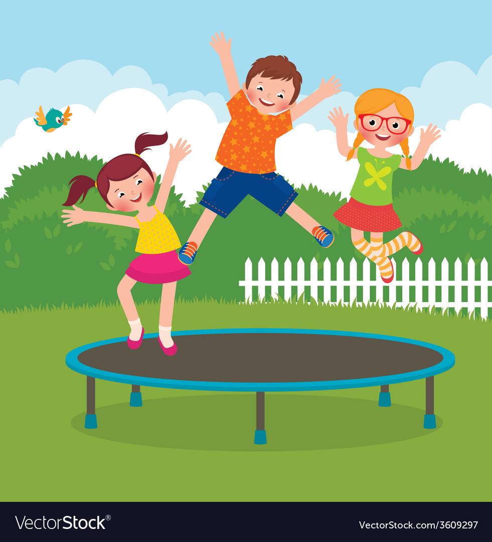 Children jumping on the trampoline vector | Price: 1 Credit (USD $1)
