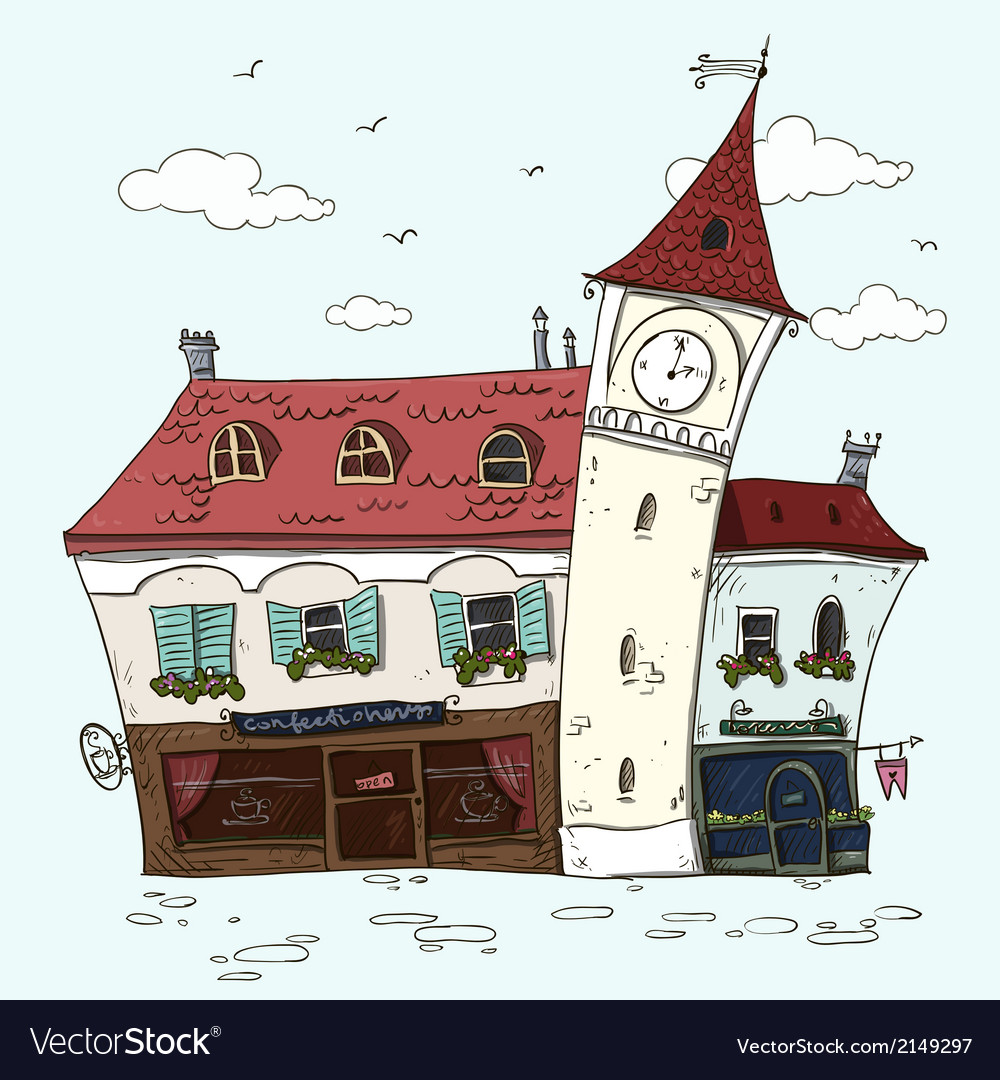 Old houses vintage facades old europe cartoon vector | Price: 1 Credit (USD $1)