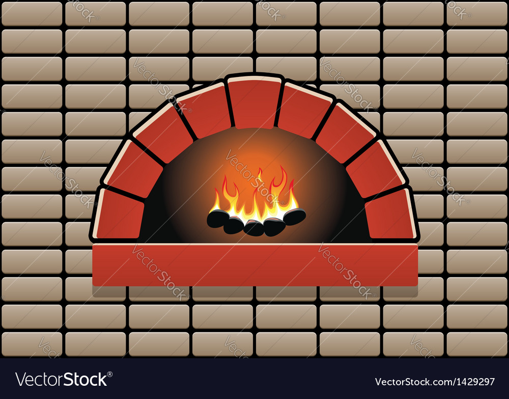 Oven with burning fire vector | Price: 1 Credit (USD $1)