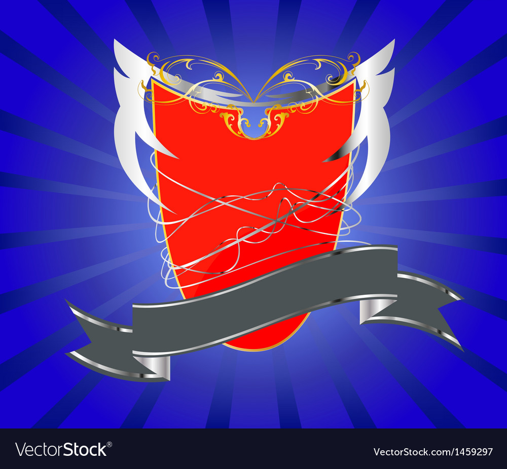 Red shield with silver banner vector | Price: 1 Credit (USD $1)