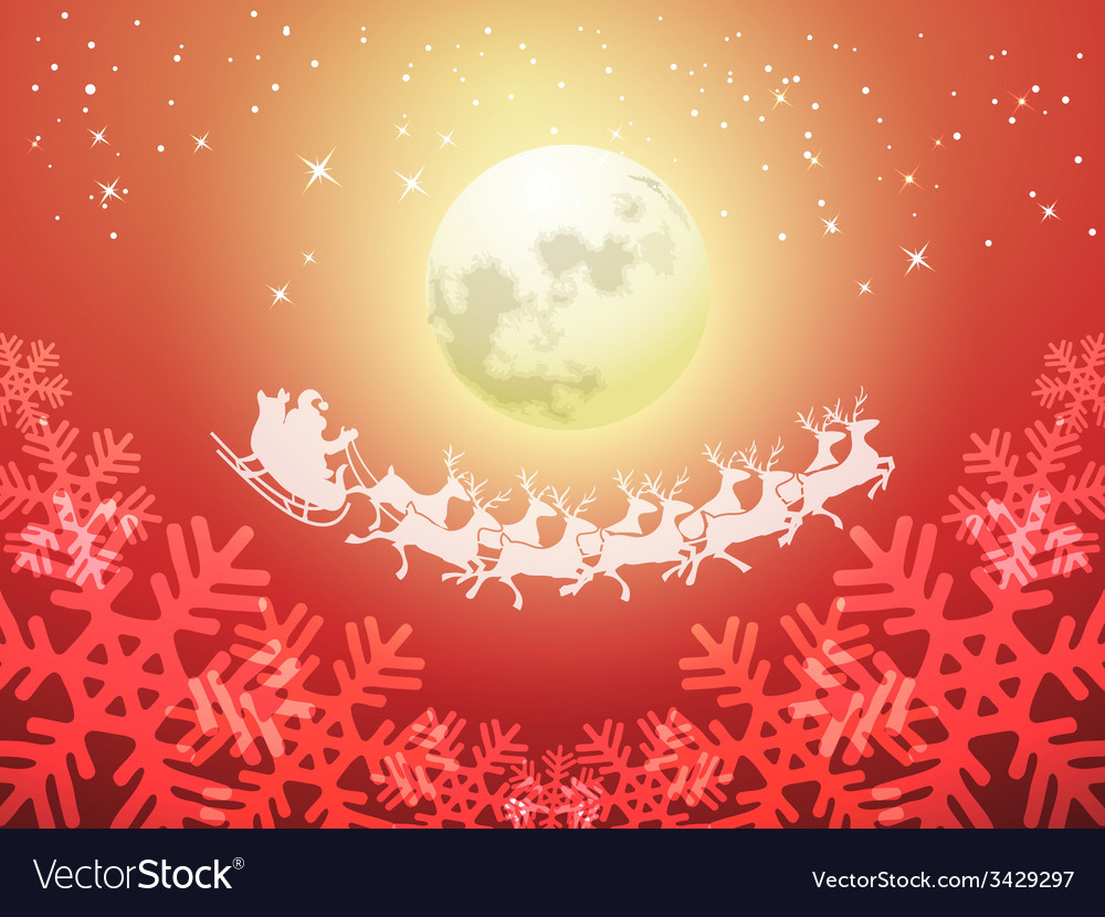 Santa driving his sleigh on a moonlit night vector   Price: 1 Credit (USD $1)