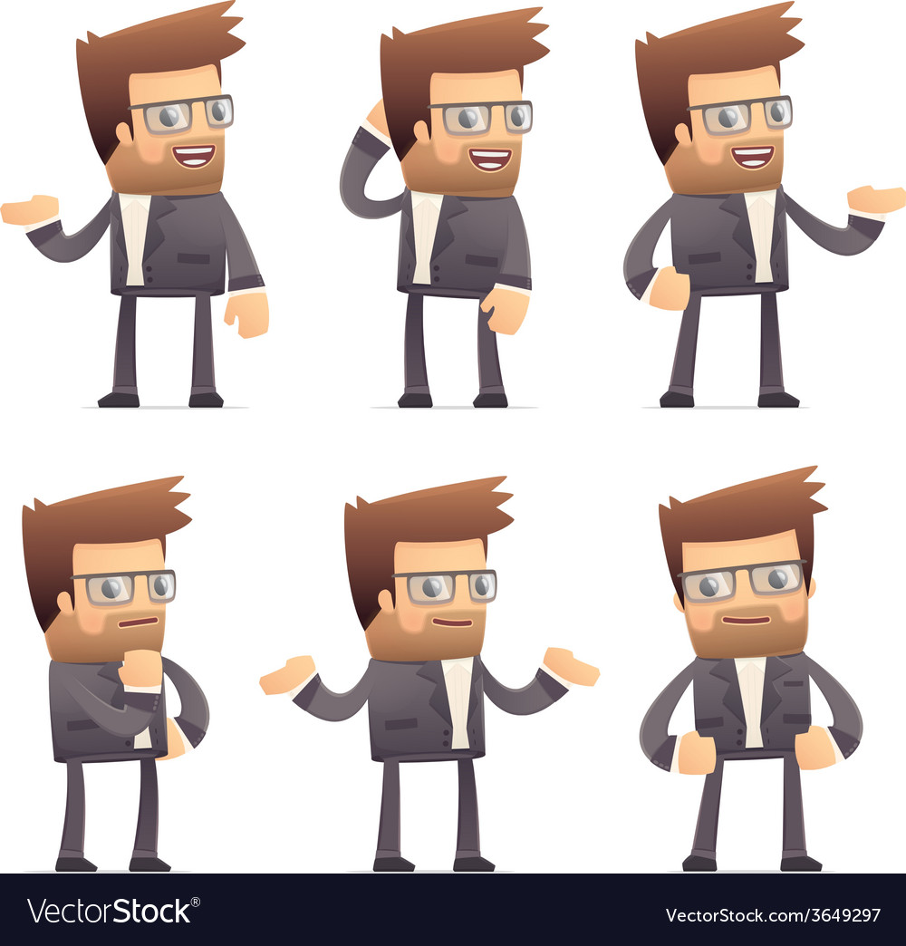Set of director character in different poses vector | Price: 1 Credit (USD $1)