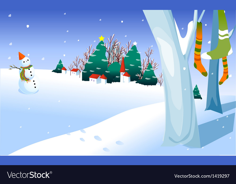 Snowman in yard vector | Price: 1 Credit (USD $1)