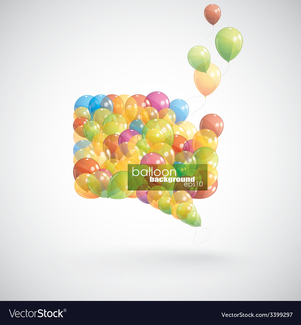 Speech bubble with flying balloons vector | Price: 1 Credit (USD $1)