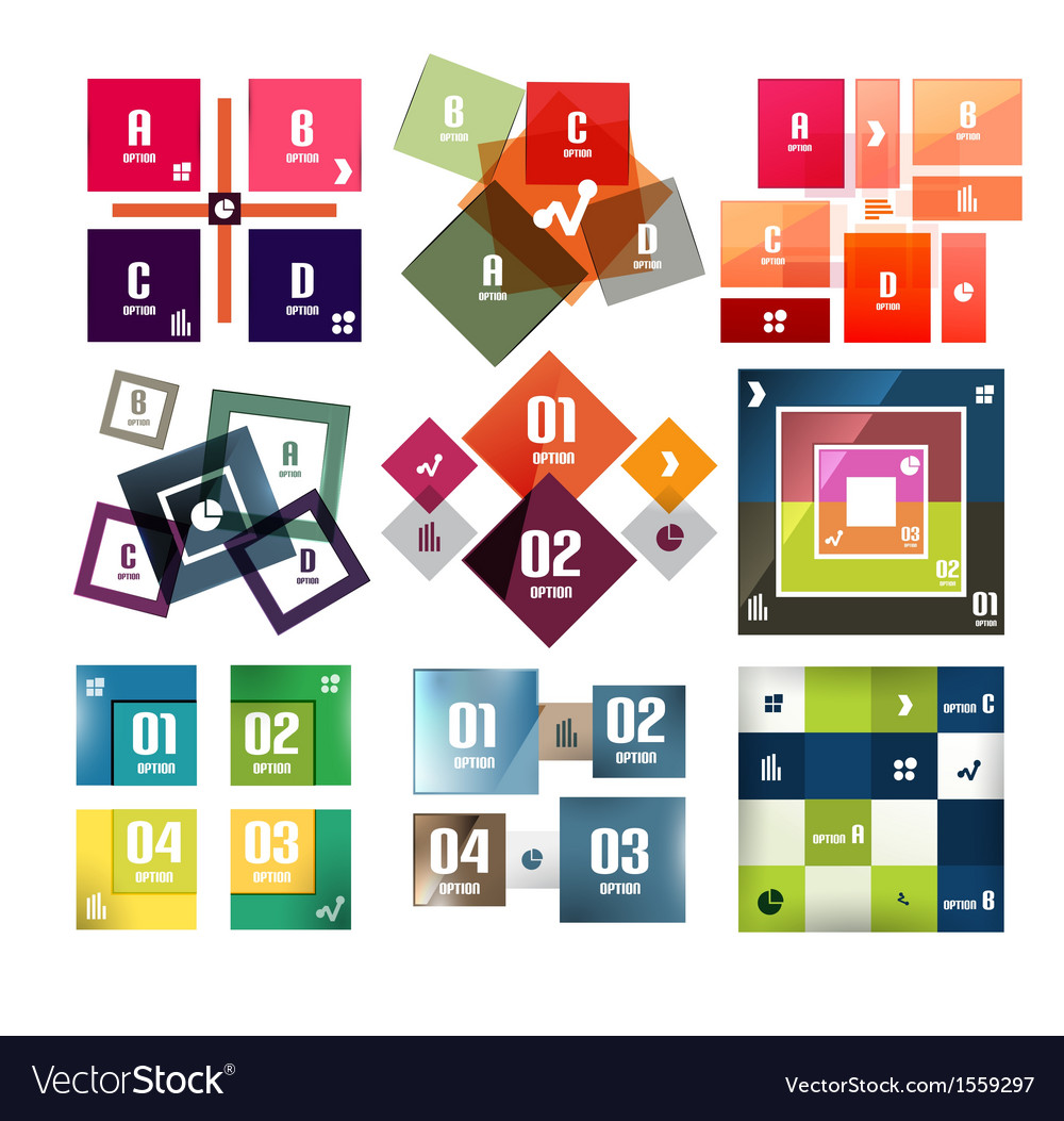 Square banners templates set vector | Price: 3 Credit (USD $3)