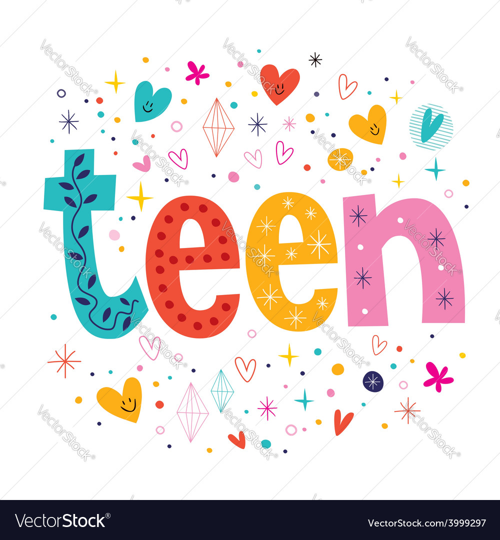 Word teen retro typography lettering decorative vector | Price: 1 Credit (USD $1)