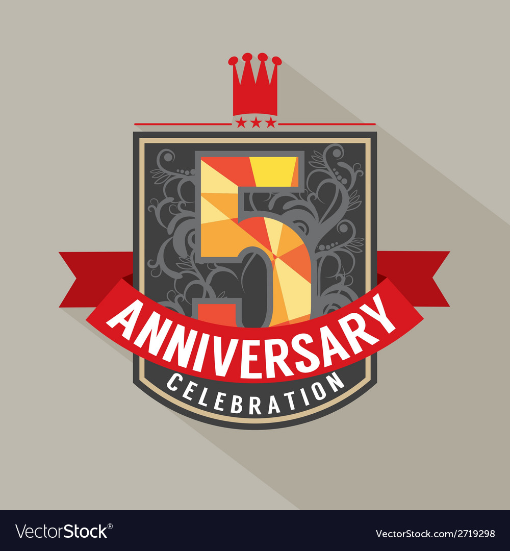 5 years anniversary badge design vector | Price: 1 Credit (USD $1)