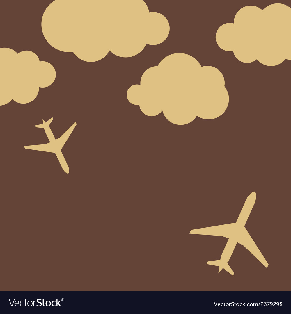 Abstract background with airplanes and clouds vector   Price: 1 Credit (USD $1)