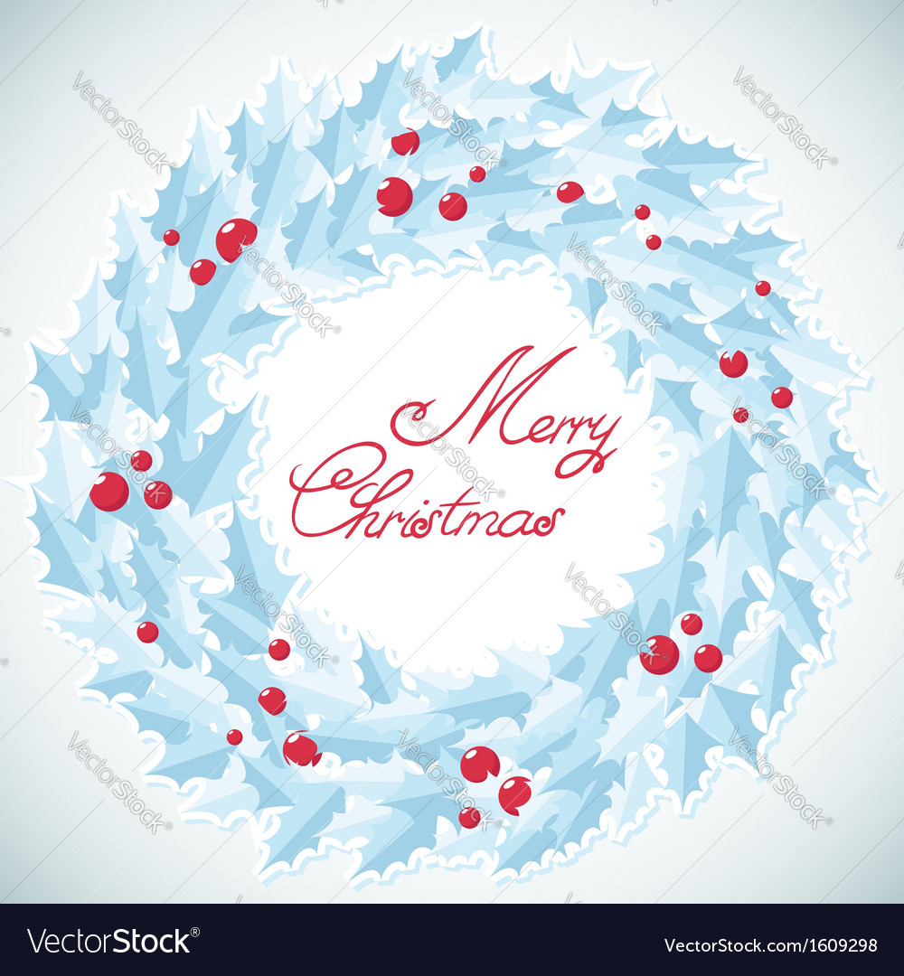 Christmas traditional wreath with holly berries vector | Price: 1 Credit (USD $1)