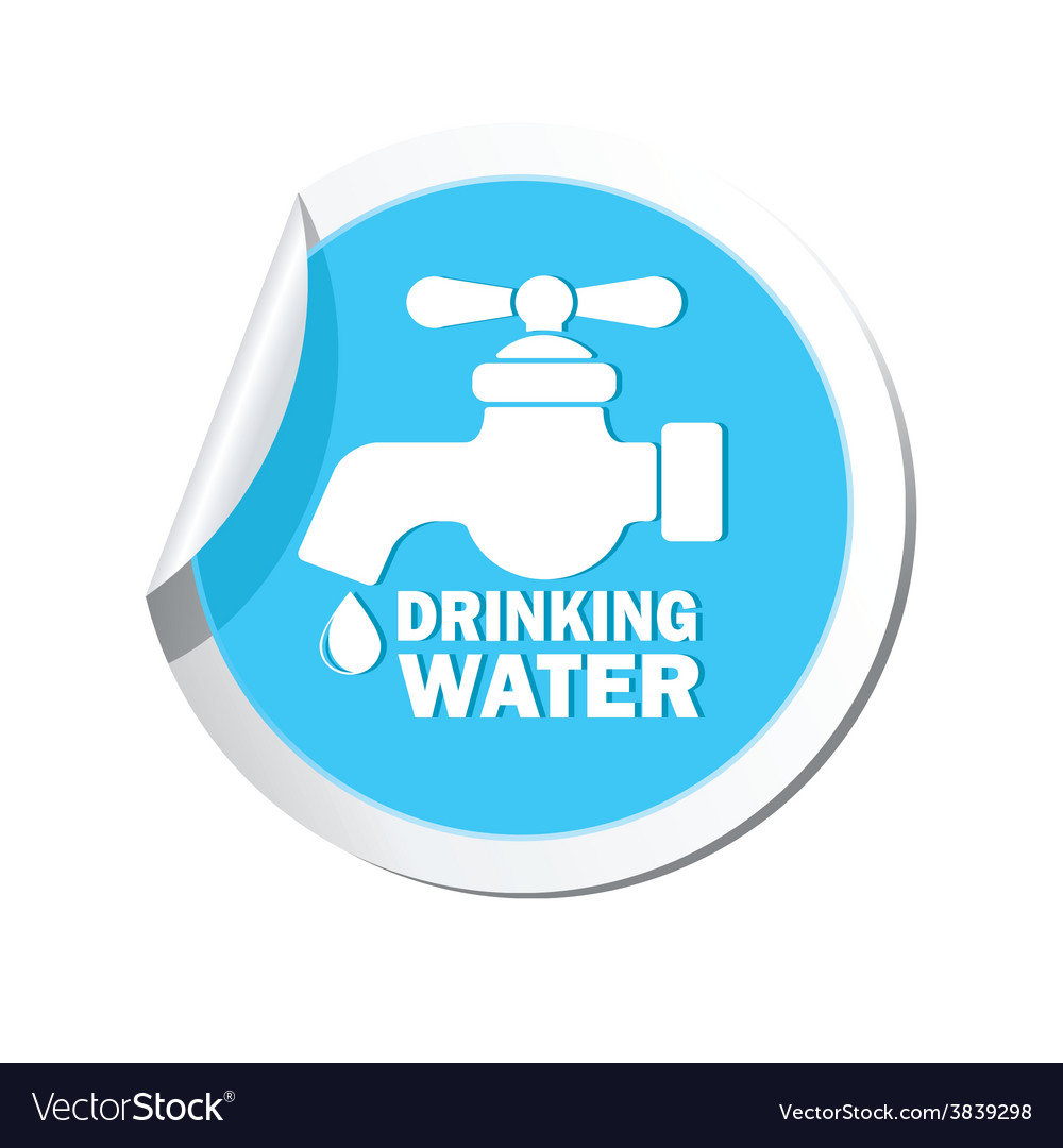 Drinking water blue label vector | Price: 1 Credit (USD $1)