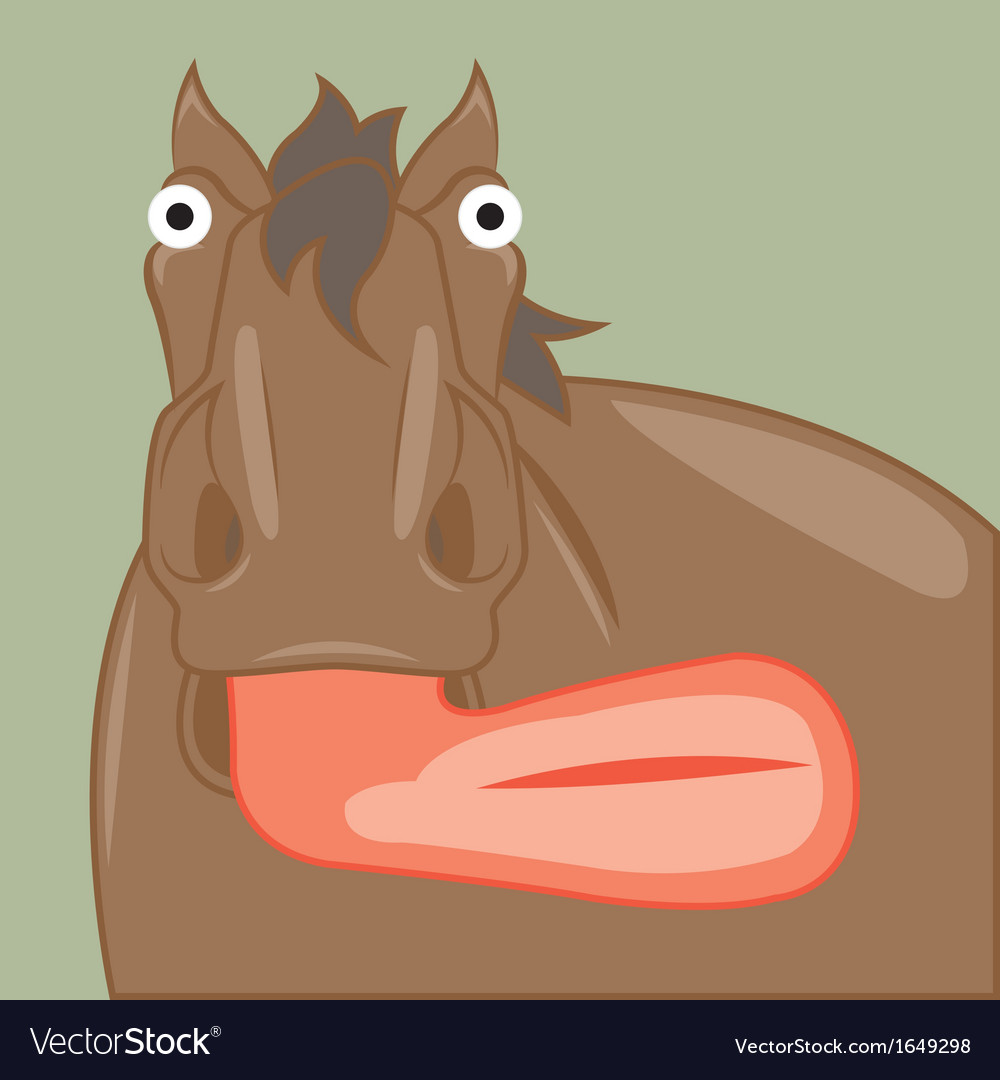 Funny cartoon horse showing tongue vector | Price: 1 Credit (USD $1)