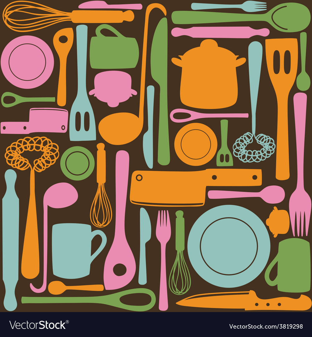 Kitchen utensils - seamless pattern vector | Price: 1 Credit (USD $1)