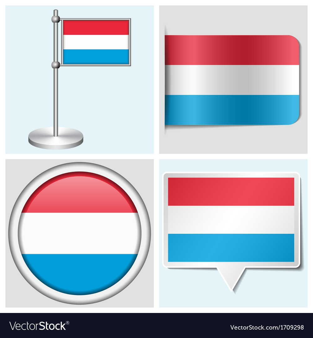 Luxembourg flag - sticker button label vector | Price: 1 Credit (USD $1)