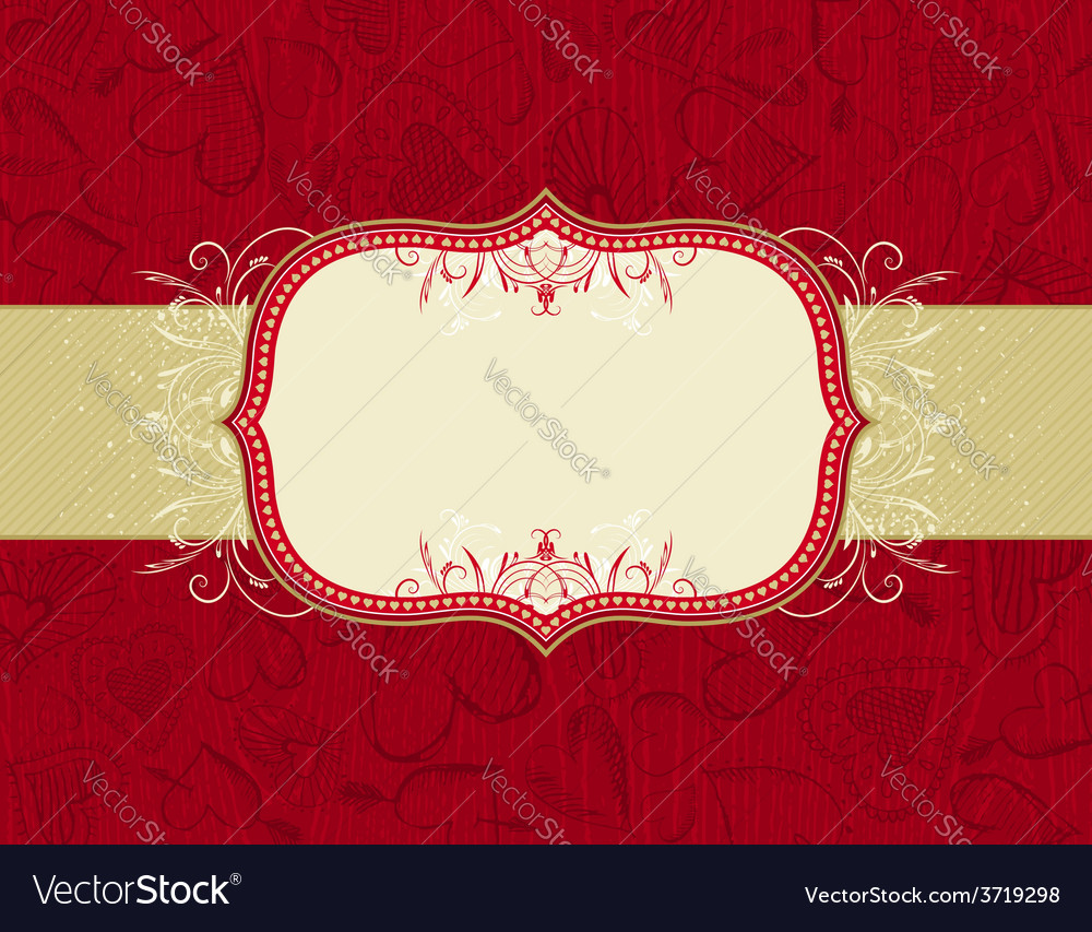 Red grunge wooden background with hand draw hearts vector | Price: 1 Credit (USD $1)