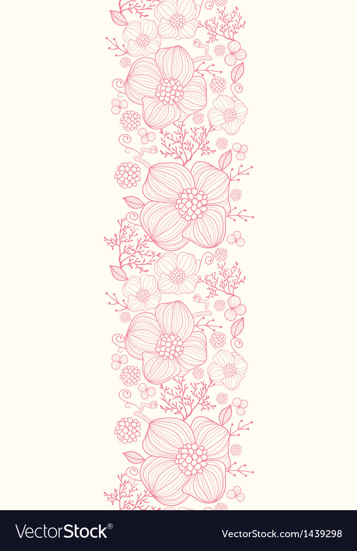 Red line art flowers vertical seamless pattern vector | Price: 1 Credit (USD $1)