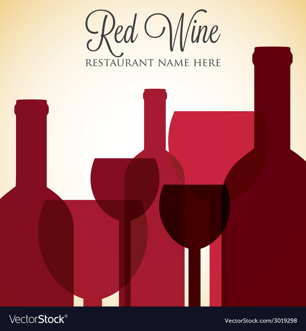 Red wine list menu cover in format vector | Price: 1 Credit (USD $1)