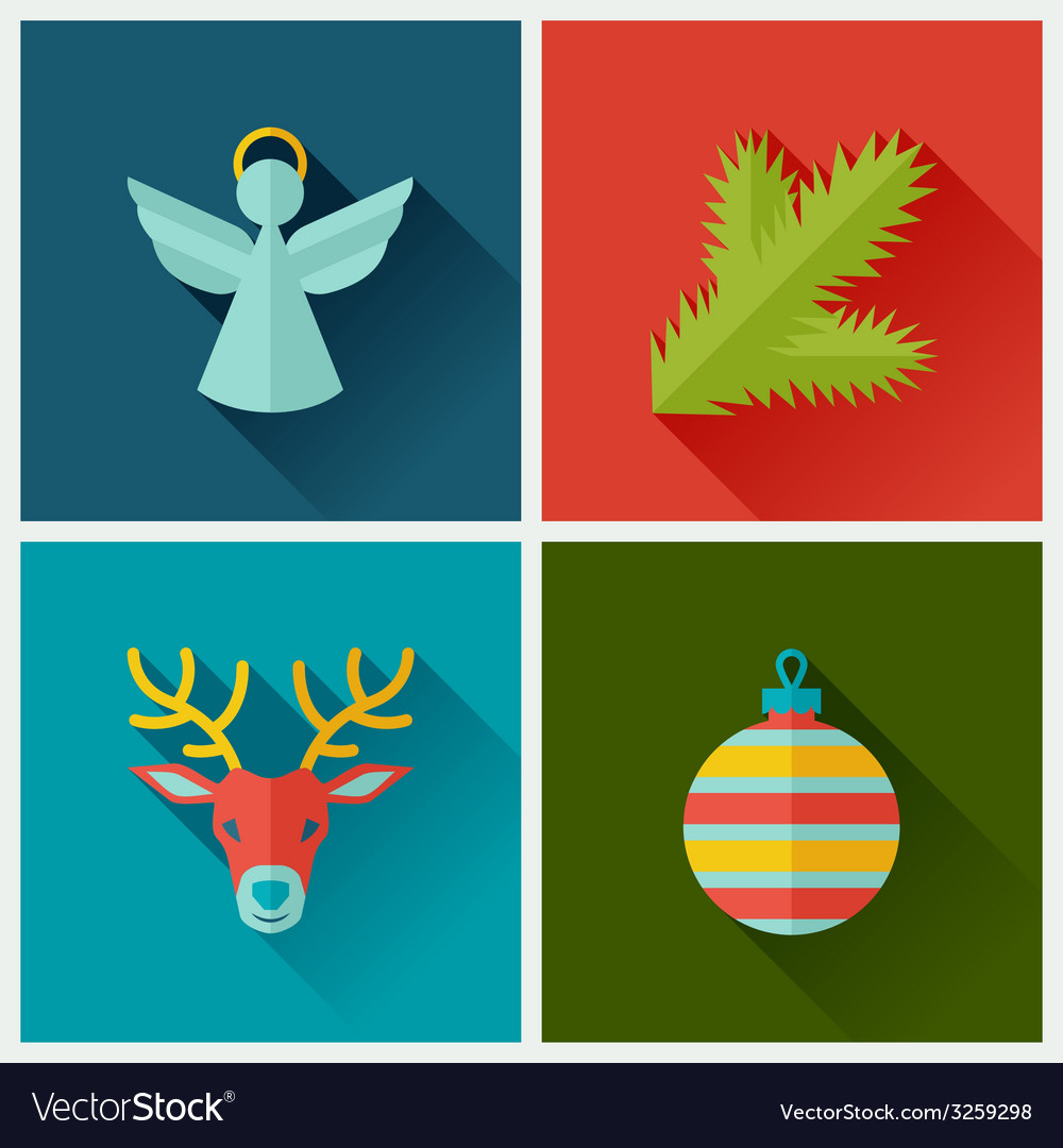 Set of merry christmas and happy new year icons vector | Price: 1 Credit (USD $1)