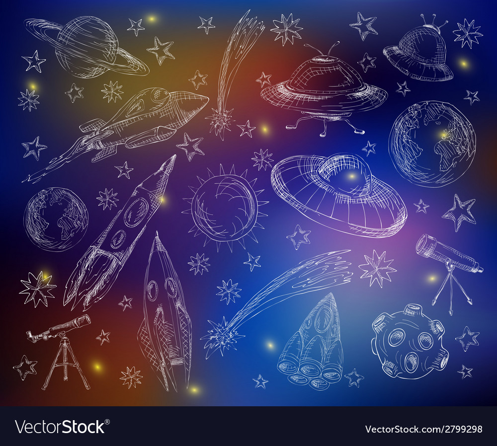 Space set color background vector | Price: 1 Credit (USD $1)