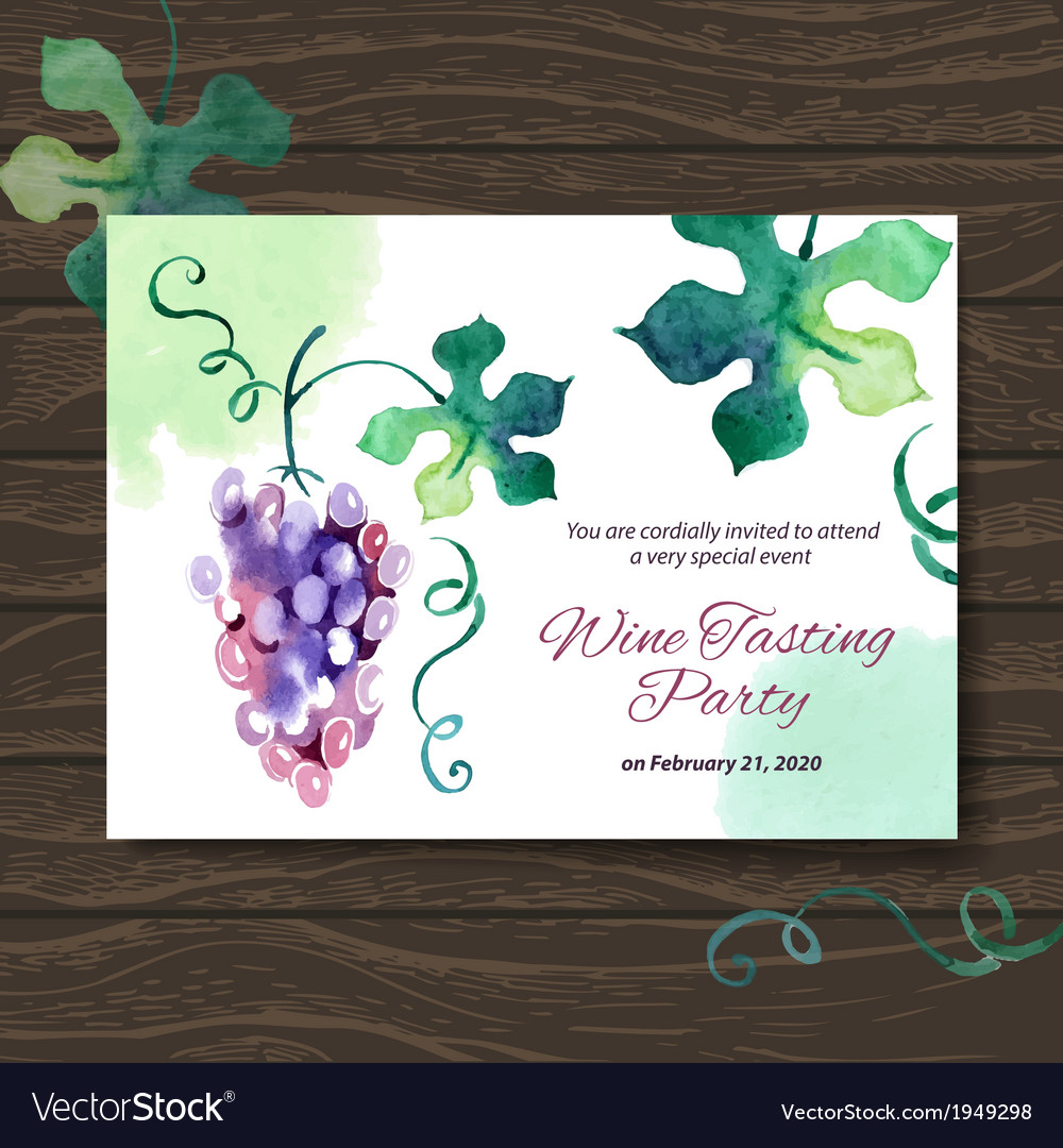 Wine tasting party card design with watercolor vector | Price: 1 Credit (USD $1)