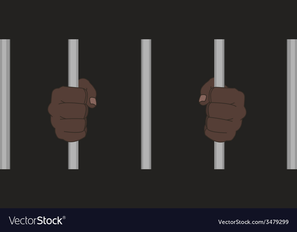 Black man fists holding prison bars vector | Price: 1 Credit (USD $1)