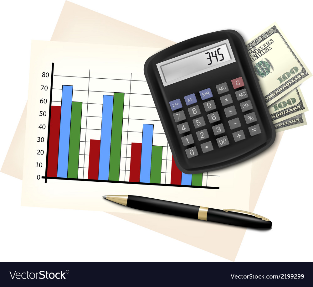 Business concept with finance graphs electronic vector | Price: 1 Credit (USD $1)