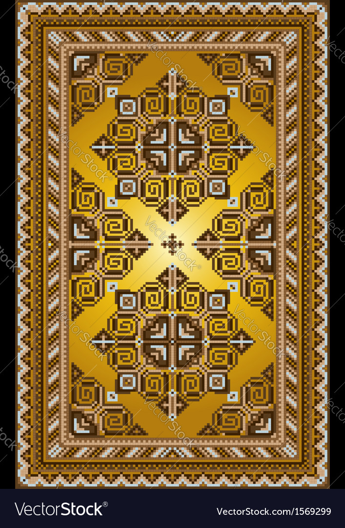 Carpet in the old style with a gold background vector | Price: 1 Credit (USD $1)