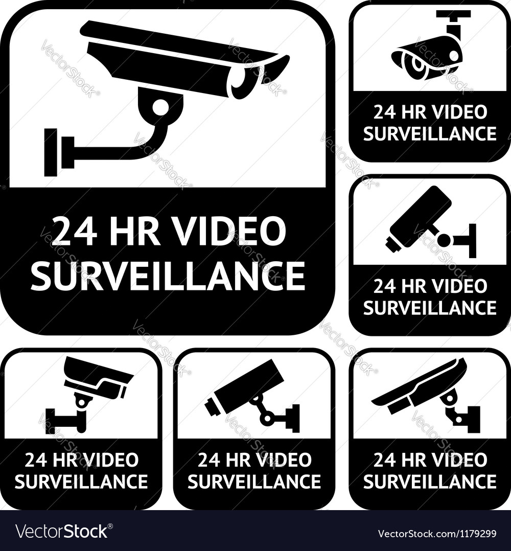 Cctv labels set symbols video surveillance vector | Price: 1 Credit (USD $1)