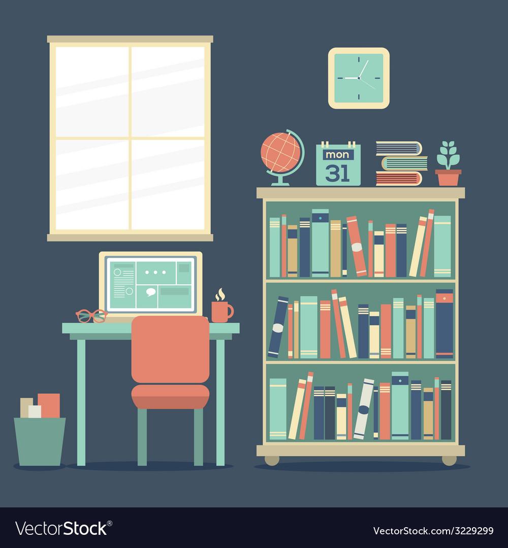 Flat design workplace vector | Price: 1 Credit (USD $1)