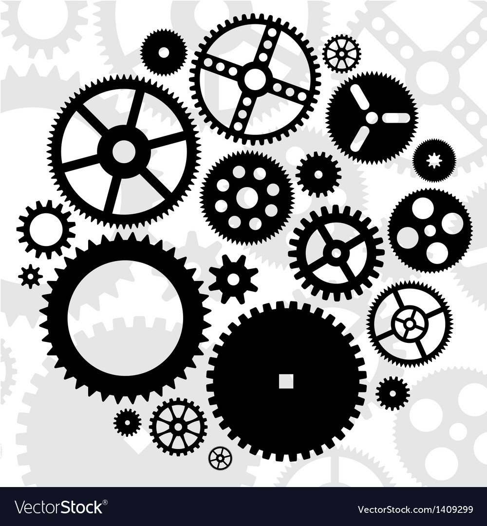 Gears black set vector | Price: 1 Credit (USD $1)