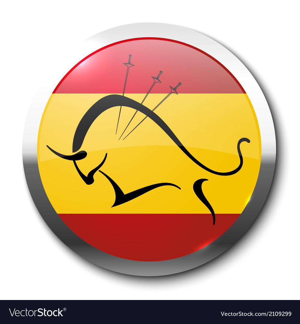 Realistic badge bullfighting vector | Price: 1 Credit (USD $1)