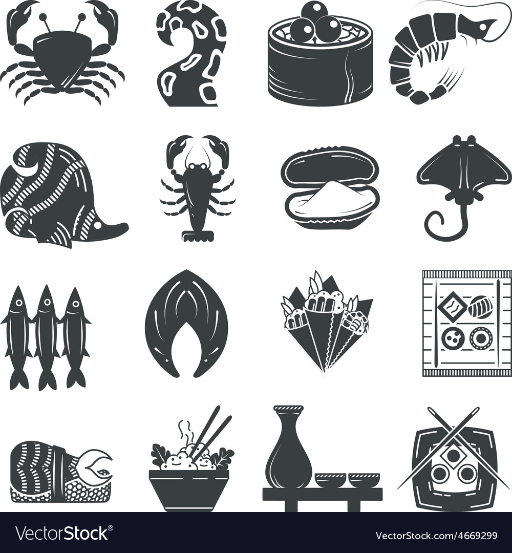 Seafood black icons collection vector | Price: 1 Credit (USD $1)