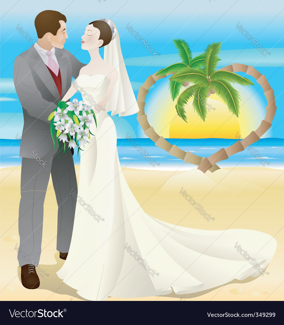 Tropical destination beach wedding vector | Price: 1 Credit (USD $1)