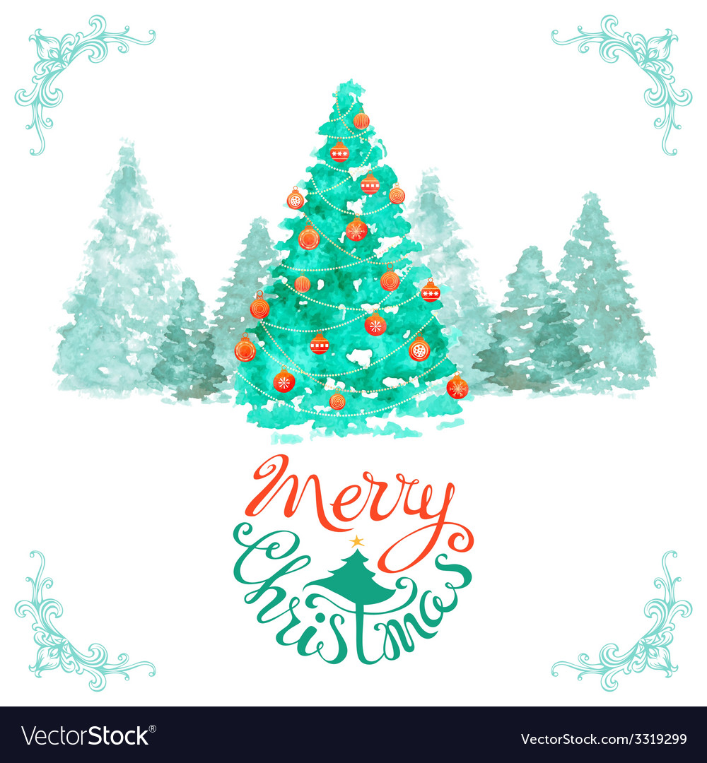 Watercolor christmas background vector | Price: 1 Credit (USD $1)