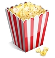 Popcorn in a striped tub vector
