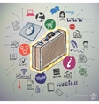 Hand drawn social media icons set and sticker with vector