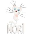 Funny white cartoon cat nori hand drawn text vector