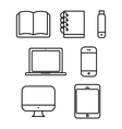 Laptop tablet set icon computer book flash phone vector