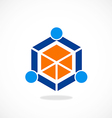 Cube polygon abstract people group logo vector