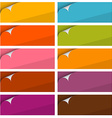 Colorful empty stickers set with bent corner set vector