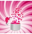 Valentines day card with gift box and heart shaped vector