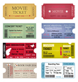 Ticket template designs vector