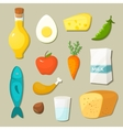 Healthy food icons set vector