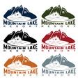 Set of mountaim lake resort vector
