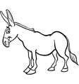 Farm donkey cartoon for coloring book vector