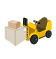 Forklift truck loading shipping box vector