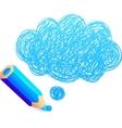 Blue cartoon pencil with doodle cloud vector