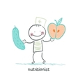 Nutritionist holding cucumber and apple vector