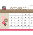 Simple 2014 calendar october vector