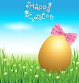 Golden easter eggs on green grass vector